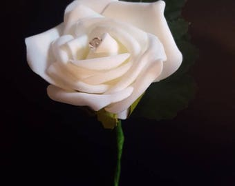 Foam Ivory Rose Buttonhole with diamante and green leaf detail