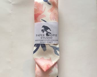 ANDREW // Handmade skinny cotton necktie by Paper Magpie Studio // pink and blue watercolor floral