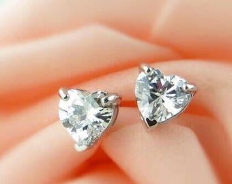 Heart Earrings, Silver Earrings, Diamond Earrings, Heart Stud Earrings ONLY 29