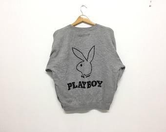 Sale!! Sale!! Vintage 90s Playboy Sweatshirt Big Logo Rabbit Head Spell Out Rare