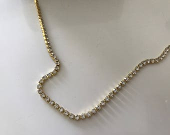 Rhinestone Crystal gold plated 2.5 mm very dense chain