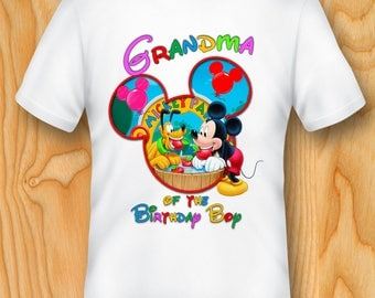DIGITAL FILE, Mickey Mouse Grandma of the Birthday Boy Iron On Transfer, Mickey Mouse Iron On Transfer, Mickey Mouse t-shirt, Mickey shirt