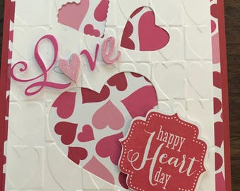 Handmade pop up valentine heart card