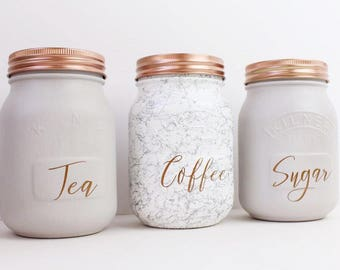 Set of 3 Grey & Marble Tea Coffee Sugar Kilner Jars