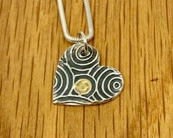 Handmade 24 Carat Gold Swirly Heart pendant and Necklace, Unique gold and silver heart necklace, Handmade Gold and Silver heart,
