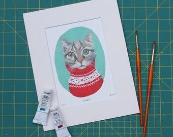 Tabby cat mounted fine art print