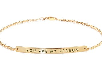 Bracelet with name, Silver Bar bracelet, Friendship bracelet, Gold bracelet, Engraved bracelet, Initial Bracelet, Name bar Bracelet. R. Gold