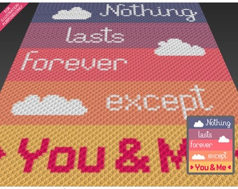 Nothing Lasts Forever crochet blanket pattern; c2c, cross stitch; graph; pdf download; no written counts or row-by-row instructions