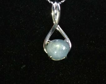 Blue Star Sapphire Gemstone Solid Sterling Silver Necklace