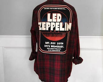Led Zeppelin Flannel Tee Led Zeppelin  Concert t shirt 1972 Rock Band Tshirts red brushed cotton plaid flannel shirt Handmade Shirts  Unisex