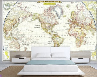 World map wall mural old map wallpaper vintage old map world map wall decal wallpaper world map old map wall decal antique world gumiabroncs Choice Image