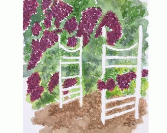 Original watercolor landscape, Abstract Garden Gate painting, flower and tree painting, Garden Trellis, purple and green painting