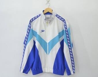 SPEEDO Sweater Vintage 90's SPEEDO Taped Logo Colorblock Zipper Sweater Jacket Size L Jaspo