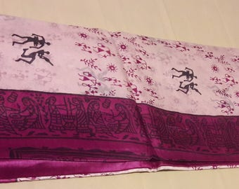 Handwoven Pure Kosa silk/tussar silk saree with tribal motifs: FREE Shipping in USA