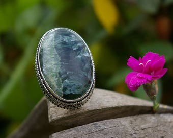Seraphinite ring, size 55 or 7 US & 58 8.5 US