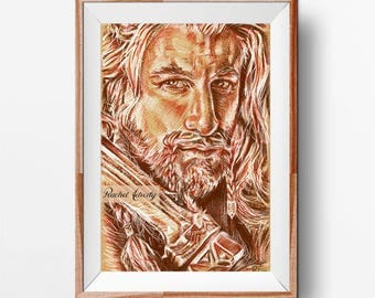 Fili (Dean O'Gorman) from The Hobbit - Original Drawing ART PRINT