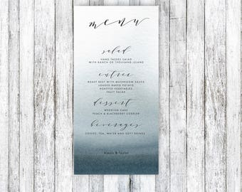 Printable Wedding Menu, Wedding Menu Card, Wedding Menu, Dinner Menu, Printable Menu, Watercolor Menu, Blue Menu, Digital File, Menu PDF