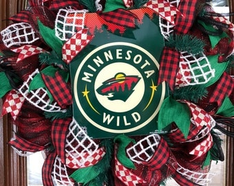 Minnesota Wild Hockey Wreath For Front Door Sports Fan Decor