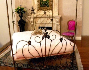 "Artisan Made Dollhouse Miniature Wrought Iron Look Bed ""CAMILLE"" 1:12 Scale Twin and Full, Half Scale"