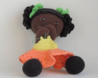 Plush, african doll, crochet, black, afro, amigurumi, baby girl doll, dolls diversity toy, plushie, stuffed, doll, multicultural