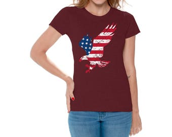 USA Eagle US Flag T shirts Tops for Women USA Shirts Tees 4th of July shirt Fourth of July American Eagle