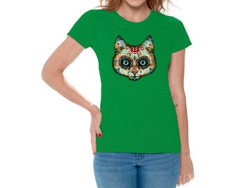 Day of Dead Cat T shirts Tops for Women Shirts Tees Cat Skull Sugar Skull Cat