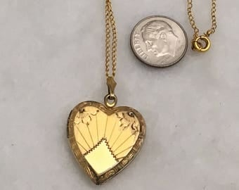 Vintage Gold over Sterling Silver 1 inch Heart Photo Locket Necklace – Etched Floral and Line Design