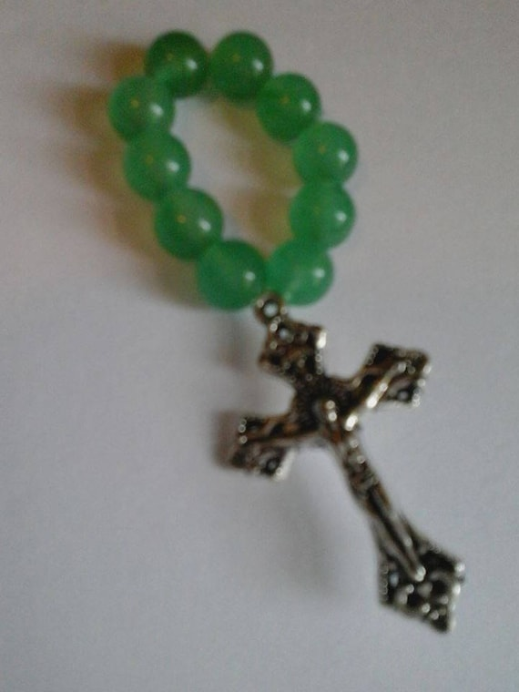 Green Aventurine Rosary Ring, Catholic, Single Decade Rosary, First Communion Gift, Confirmation Gift, Unisex Stretchy, Prayer Ring,