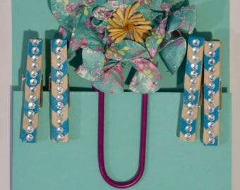 Embellished clothespins and Jumbo Paper Clip. all orders ship free