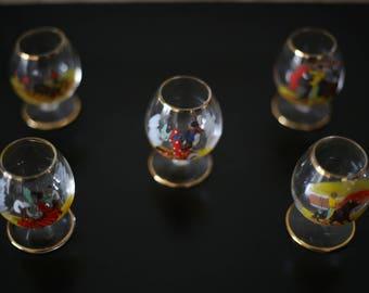 5 glasses for liquor, or anisette Spanish vintage