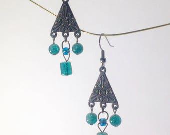 Teal Triangle Drop Earrings