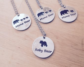 Mother's Day mom's mother daughter necklace silver Baby Bear Mama bear Bear for her