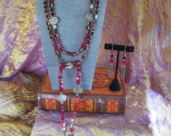 The Red Lady lariat necklace and earring set