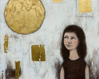 "painting ""The little girl of the Moon"" large format 80x80cm gilded with gold white"