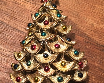 Vintage Silver Christmas Tree with Colorul Ornament Brooch. Signed Gerry's. Book Piece