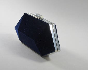 Hard Clutch- Midnight Blue Velvet