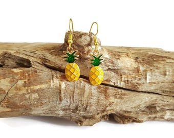 Yellow and green pineapple earrings