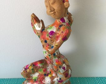Vintage wooden handmade indonesian Bali statue 1990's, 90's, Boho, Eclectic