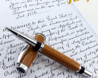 Greenheart wood Roller Ball Pen (Hambrook Chrome 754)