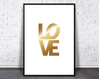 Love Poster, Gold Love Printable Art, Modern Love Sign, Love Print, Gold Word Decor, Word Wall Print, Typography Wall Art, Wedding Gift Idea