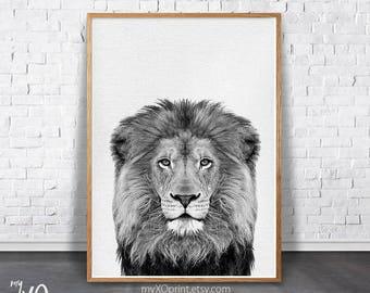 Lion Print, Animal wall art Print, Safari Nursery, Printable Animal, Black White Lion, Large Poster, Kids Room Decor, Nursery Art, Boys Room