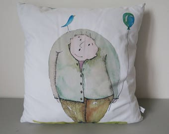 Decorative pillow, original drawing, 40 x 40 cm, removable pillow, 100% cotton fabrics