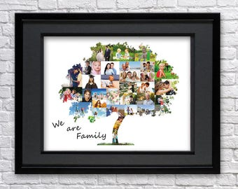 Digital File-Family tree photo collage-Family tree wall art-Family tree print-Family tree art-Family tree template-Heritage photo collage
