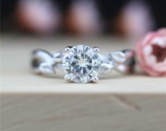 Forever Classic Moissanite Ring 14K White Gold Ring VS 6.5mm Round Cut Moissanite Engagement Ring Bridal Ring Anniversary Ring Wedding Ring