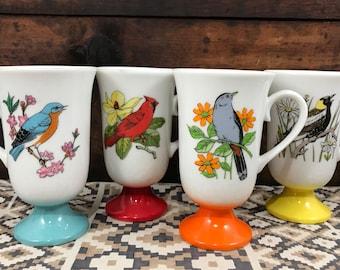 Adorable Kitschy Fred Roberts Co Audubon Bird Mugs Set of 4