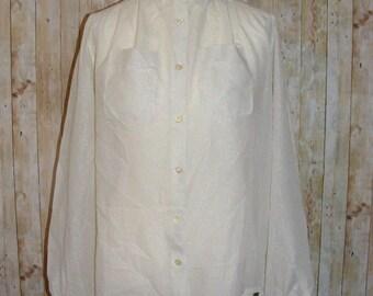 Size 10 vintage 80s loose l/slv evening blouse ivory sparkly sheer stripe (HM70)
