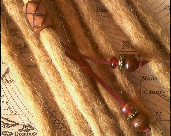 XS/S - Unique hand crafted, up-cycled genuine leather dread/hair cuff/bead with beaded tails.