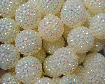 20pcs 22mm White AB Resin Rhinestone Beads