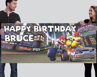 MarioKart Custom Happy Birthday Banner-Digital (2.5'x6' or other)