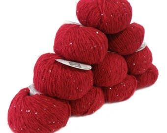 10 x 50 g luxury Knitting yarn Sapphire sequins, color red 004